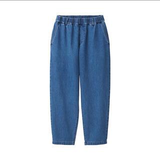 MUJI (無印良品) - 無印良品 デニムワイドテーパードパンツ 男女兼用L-XL・ブルー