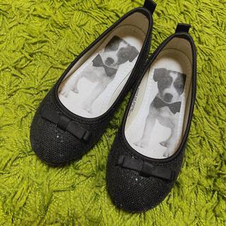 エイチアンドエム(H&M)の新品同様 H&M リボン ラメ パンプス 16cm 黒(ローファー)