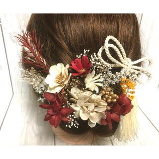 再販 ドライフラワー  ヘッドドレス  髪飾り 結婚式 成人式 卒業式 白赤金