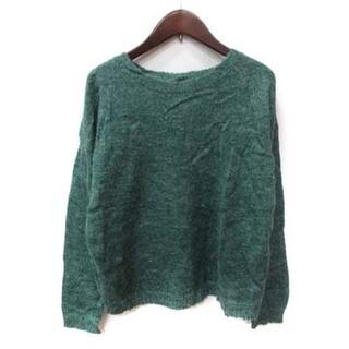 ローズバッド(ROSE BUD)のローズバッド ROSE BUD ニット セーター 長袖 アルパカ混 切替 F 緑(ニット/セーター)
