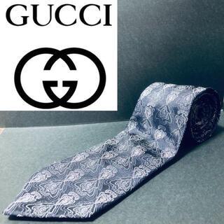 Gucci - 【美品】GUCCI/グッチ ネクタイ ブラック グッチロゴ柄