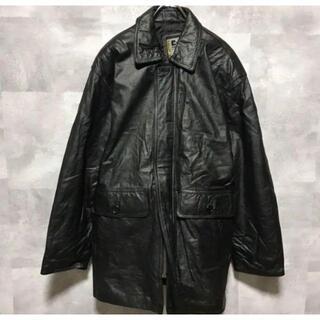 Vintage ブラック ダブルポケット 牛革 レザージャケット