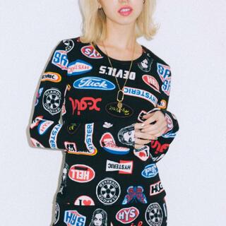 ヒステリックグラマー(HYSTERIC GLAMOUR)の新品 ヒステリックグラマー x-girl コラボ 総柄 ロンT(Tシャツ/カットソー(七分/長袖))