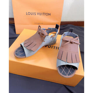 LOUIS VUITTON - 定価12万1回着用のみ★ルイヴィトンデニムレザーロゴマークフラットサンダル