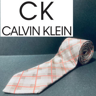 Calvin Klein - 【美品】CK/カルバンクライン ネクタイ アイボリー チェック柄