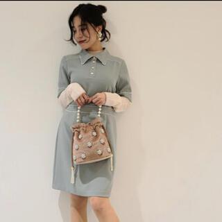 リリーブラウン(Lily Brown)のLILY BROWN 衿付きパイピングミニワンピ ミント レトロ 半袖(ミニワンピース)