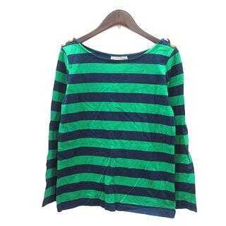 アパルトモンドゥーズィエムクラス(L'Appartement DEUXIEME CLASSE)のL'Appartement Tシャツ カットソー ロンT 長袖 ボーダー 緑(Tシャツ(長袖/七分))