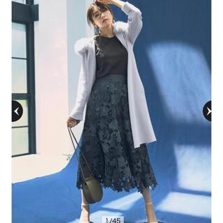 ジャスグリッティー(JUSGLITTY)のJUSGLITTYスエードレース刺繍フレアスカート(ロングスカート)