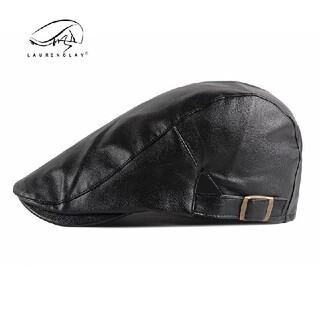レザーハンチング ブラック 帽子 黒 キャップ(ハンチング/ベレー帽)