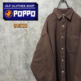 GUESS - ゲスジーンズGUESS☆USA製ワンポイント刺繍ロゴポケットシャツ 90s