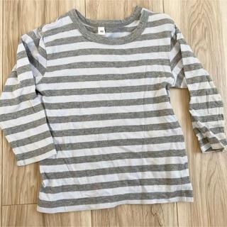 ムジルシリョウヒン(MUJI (無印良品))のボーダーカットソー ロンT 無印良品 グレー 灰色 キッズ 長袖Tシャツ(シャツ/カットソー)