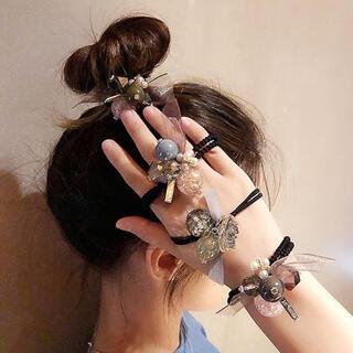激安 水晶ポンポン ヘアゴム   ヘアアクセサリー  髪飾り かわいい(ヘアゴム/シュシュ)