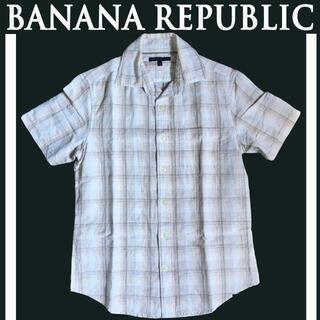 バナナリパブリック(Banana Republic)の[BANANA REPUBLIC] 半袖・リネン綿シャツ [バナナリパブリック](シャツ)