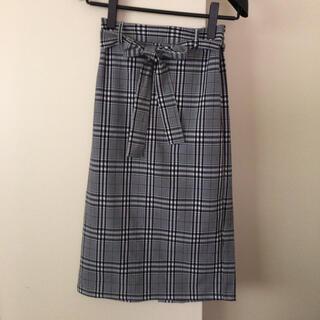 GU - gu  リボン付きチェック柄スカート