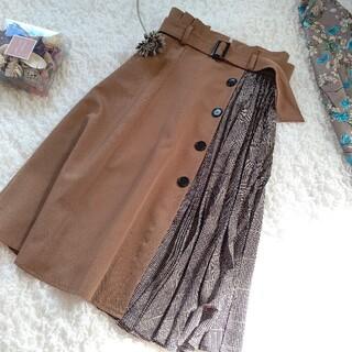 ジャスグリッティー(JUSGLITTY)のジャスグリッティー  異素材プリーツ  グレンチェック ロングスカート  2(ロングスカート)