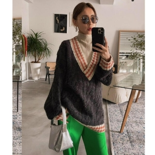 Ameri VINTAGE - SOFT CABLE TILDEN KNIT TOP アメリヴィンテージ