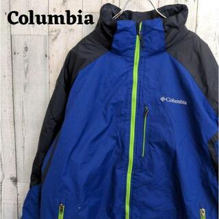 コロンビア(Columbia)の専用 90s コロンビア マウンテンパーカー ブルー(青)グリーン(黄緑)2L(マウンテンパーカー)