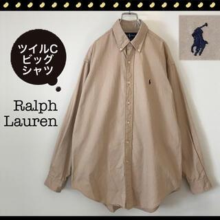 Ralph Lauren - ラルフローレン★BLAILEスタイル★ツイルビッグシャツ★BDカラー★カーキ