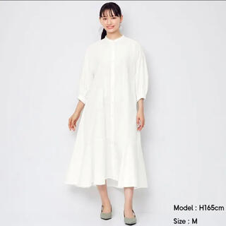 GU - 【新品未使用】 GUバンドカラーシャツワンピース(7分袖) L