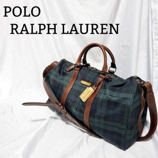 ポロラルフローレン(POLO RALPH LAUREN)の【美品】ポロラルフローレン ボストンバッグ ショルダー チェック グリーン(ボストンバッグ)