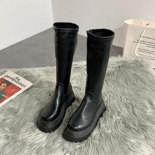 マウジー(moussy)の美品✳︎韓国ファッション✳︎合皮ミドル丈ブーツ✳︎ハーフブーツ✳︎厚底ブーツ(ブーツ)