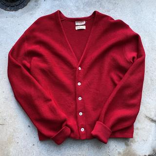 60s vintage wool cardigan red