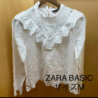 ZARA - ZARA BASIC 綿100% レース使いのホワイト 長袖ブラウス 【M】