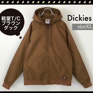 Dickies - ディッキーズ★軽量T/Cキャンバス★ブラウンダックジャケット★フーディ★XL