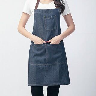 エプロン デニム 4ポケット 首掛け 男女共用 DIY(その他)