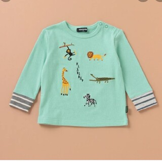 kladskap - 新品 クレードスコープ 動物モチーフ刺繍袖ボーダーTシャツ グリーン 120