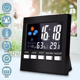 シンプル 置き時計  デジタル時計 コンパクト 目覚まし 温湿度計 おしゃれ