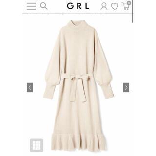 GRL - GRL ウエストリボンニットワンピース