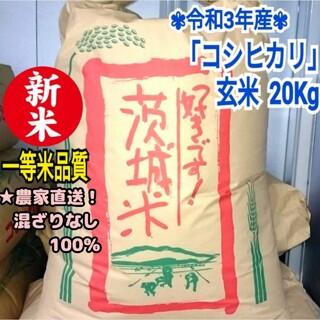 ★新米!一等米 令和3年 茨城県産「コシヒカリ」玄米 20kg お米 減農薬 C