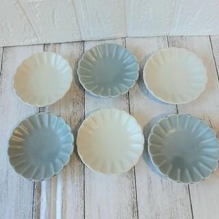 【6枚】新品 日本製 美濃焼 菊形 小皿 豆皿 ホワイト グレー マット