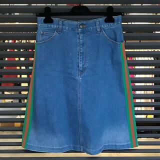 Gucci - 超美品 グッチ ウェブストライプ シェリーライン デニムスカート 42 Mサイズ