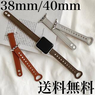 Apple Watch レザー スキニーバンド ベルト 韓国 アップルウォッチ(その他)