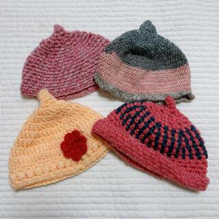 ハンドメイド ニット帽 どんぐり帽 4点セット 女の子(帽子)