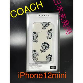 コーチ(COACH)の【新品未使用】コーチ Coach iPhone12Mini 黒 ラメ 花 透明(iPhoneケース)