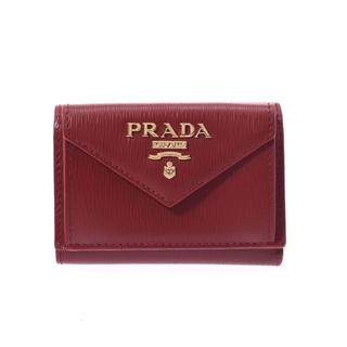 PRADA - プラダ  コンパクトウォレット アウトレット 三つ折り財布 赤
