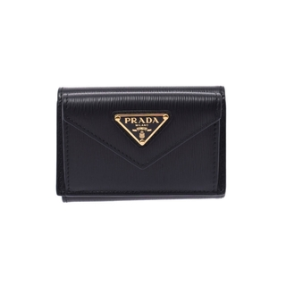 PRADA - プラダ  コンパクトウォレット アウトレット 三つ折り財布 黒