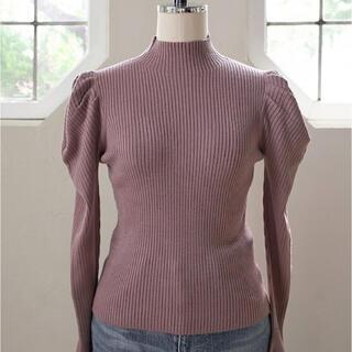 Volume Sleeve Rib Knit Top