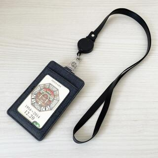 伸縮リール付き パスケース ブラック 定期入れ カード入れ セキュリティ
