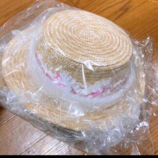 アースマジック(EARTHMAGIC)の23. 新品 フリル ロゴ リボン カンカン帽 M 52-54 シロ(帽子)