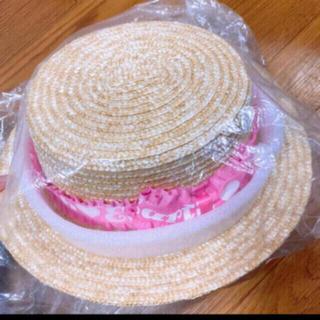 アースマジック(EARTHMAGIC)の24. 新品 フリル ロゴ リボン カンカン帽 M 52-54 ピンク(帽子)