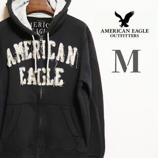 アメリカンイーグル(American Eagle)のアメリカンイーグル ロゴパッチ フルジップ フードバーカー M ブラック(パーカー)