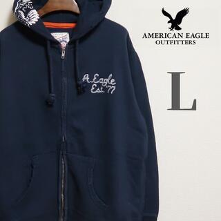 アメリカンイーグル(American Eagle)のアメリカンイーグル フードプリント フルジップ フードバーカー L ネイビー(パーカー)