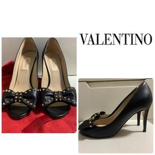 ヴァレンティノ(VALENTINO)のVALENTINO ブラックレザー スタッズ パンプス(ハイヒール/パンプス)