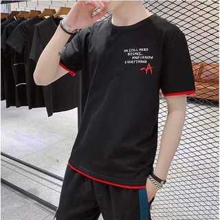 重ね着風Tシャツ 黒 ブラック 半袖 丸首 ロゴ イラスト 韓国ファッション