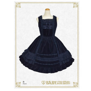 ベイビーザスターズシャインブライト(BABY,THE STARS SHINE BRIGHT)の別珍レースフリルジャンパースカート+ヘッドドレス 紺(ひざ丈ワンピース)