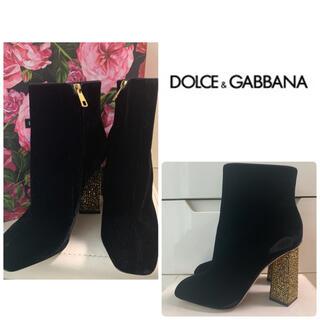 DOLCE&GABBANA - 美品 ドルチェ&ガッバーナ ブラックベロア ラインストーンヒール ブーツ